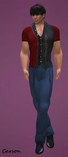 HB - Zach - Zoot suit pants Navy  HB - Bennett - Diamond Red Shirt