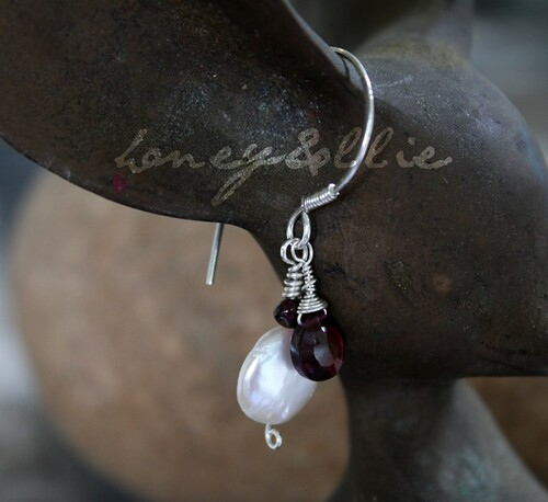 garnet teardrops and pearls