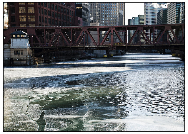 ice below Lake Street Bridge