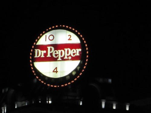 Dr. Pepper Sign Roanoke VA - Night