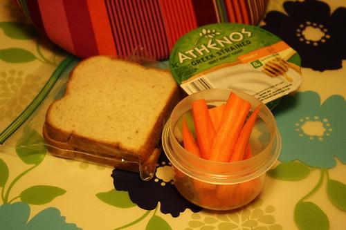 peanut butter and jelly, carrots, athenos greek honey yogurt
