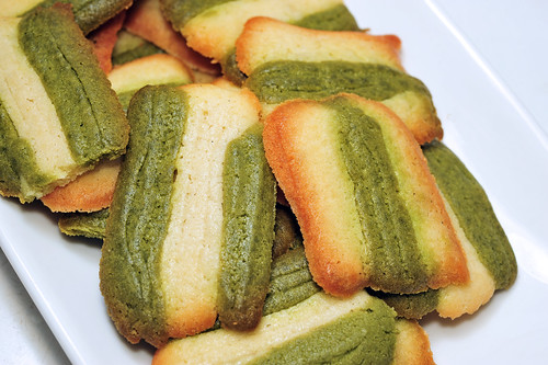 Macha and Chocolate Cat's Tongue Cookies