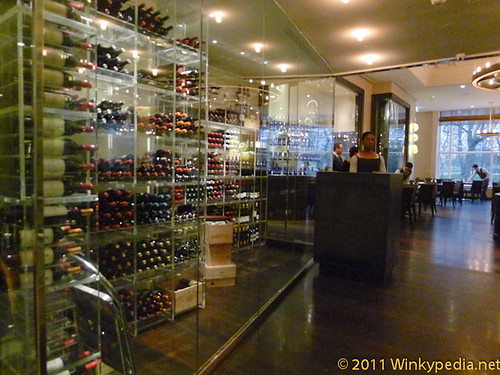 Wine cellar and reception at Dinner by Heston