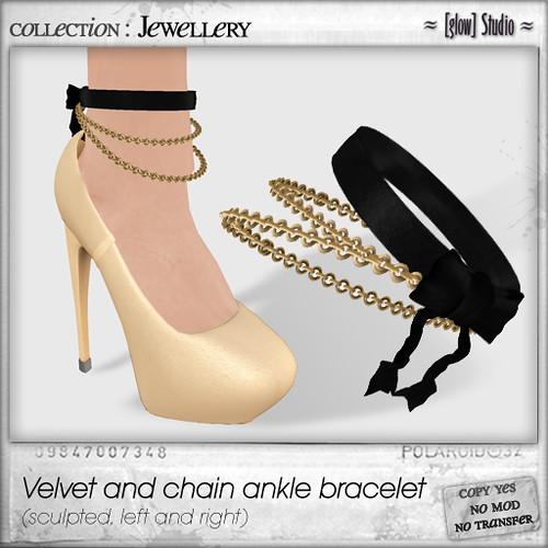 [ glow ] studio - Valvet and chain ankle bracelet