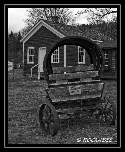 Old Schoeopee School House And Wagon