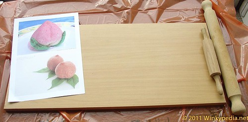 Basic set up for making a peach out of modelling clay