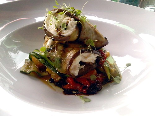 Char grilled eggplant and mozzarella salad