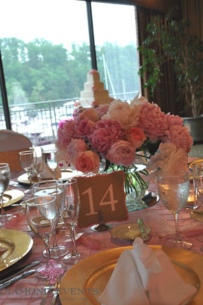 Peony centerpiece at Harbour View Event Center wedding reception