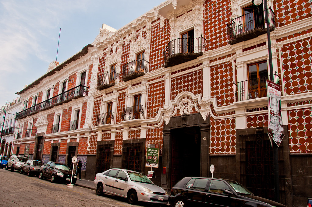 Puebla street scene with decorative tiles and plaster work