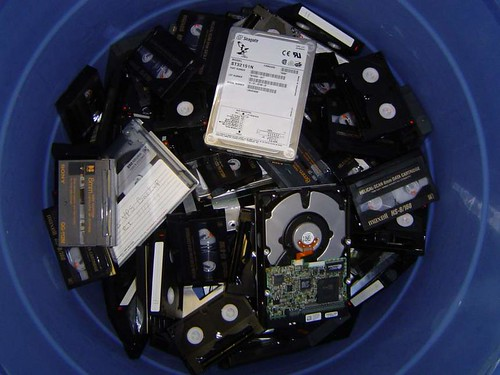 tapes in bin
