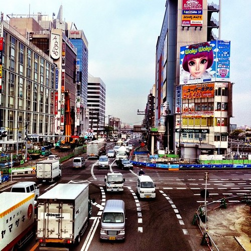 (^o^)ノ < おはよー! 今朝の天王寺交差点。劇画タッチ! #Osaka #Abeno #morning