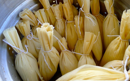 Chocolate tamales, ready to steam