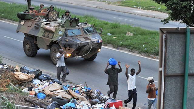 A French military tank patrols the streets of the main city in the West African state of Ivory Coast. Paris is backing the rebel leader Alassane Ouattara who is attempting to oust incumbent President Laurent Gbagbo.
