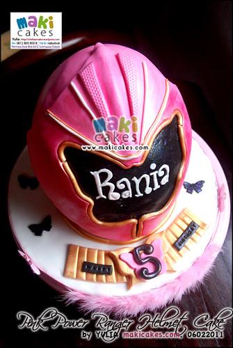 Pink Power Rangers Helmet Cake_ - Maki Cakes