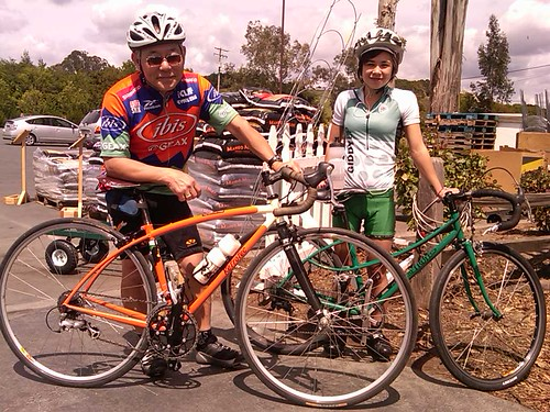 Chino & Emma out on a road ride on there Retrotecs. by retrotec&ingliscycles
