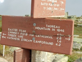 Thoreau Spring sign on Katahdin's Hunt Trail.
