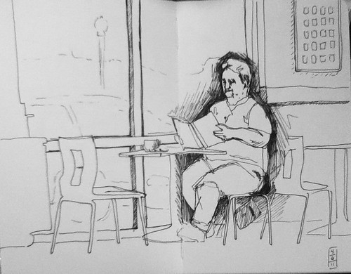 Reading at coffee shop