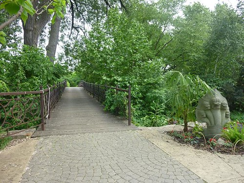 WI, Madison - Botanical Gardens 24 - Bridge to Thai Garden