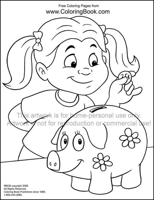 piggy bank coloring pages online coloring