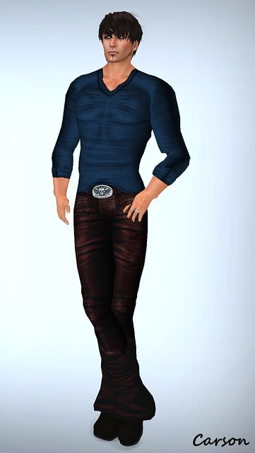 ROC Blues Sweater and Brown Leather Jeans
