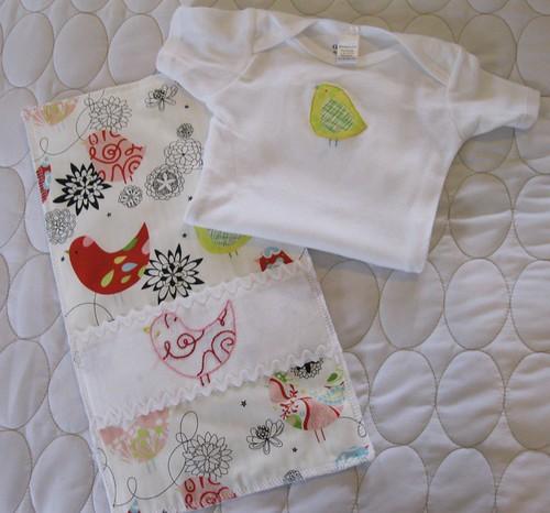 little birds onesie/burp cloth set