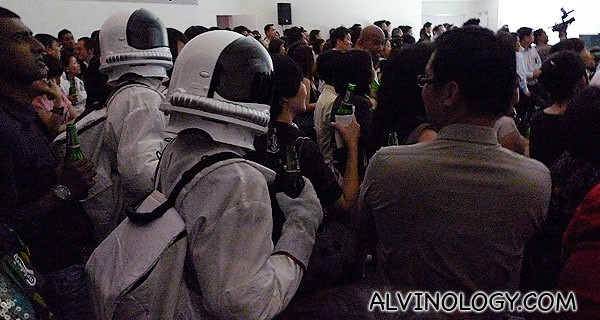 Carlsberg astronauts mingling with the crowd