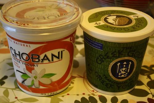 Chobani vanilla yogurt; Greek gods greek yogurt