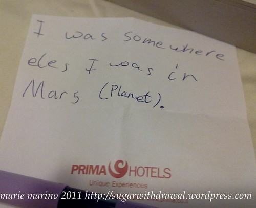 Note from Mars
