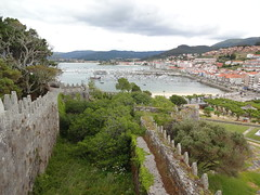 Baiona (Bayona) marina from the battlements of the Parador