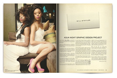 Design Project: Aqua Night Magazine Spread - pgs. 8 & 9