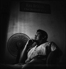 A MEMORY (Arif Kori (  )) Tags: portrait people 120 6x6 tlr film museum mediumformat lens table fan blackwhite reflex chair mood expression seagull twin squareformat malaysia melaka malacca historicalbuildings sidelight stadhuys 75mmf35 hitamputih autaut seagull4 negeribersejarah arifkori suducarik akarumbi soffianabdullah thebritishera thehistoricstate