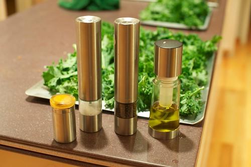 Olive oil, salt, pepper and turmeric