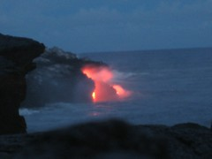 Lava from Kilueau entering the Pacific Ocean, Hawai'i