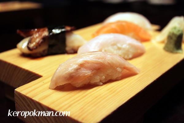 Sushi of Kajiki, Salmon, Hiramasa, Hirame