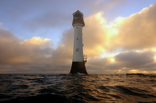 Winter sunrise at the Bell Rock lighthouse (12 miles off of Arbroath), Angus, Scotland