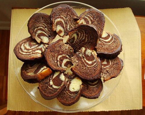 Zebra Bundt Cake sliced