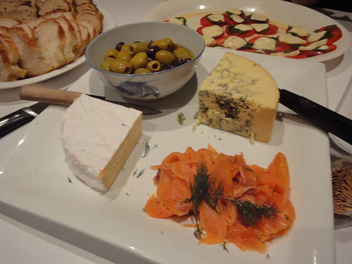 Brie, marinated olives, Stilton, smoked salmon and dill