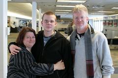Mom - Ben - Dad at Airport