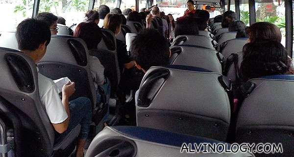 On board the bus to the second location