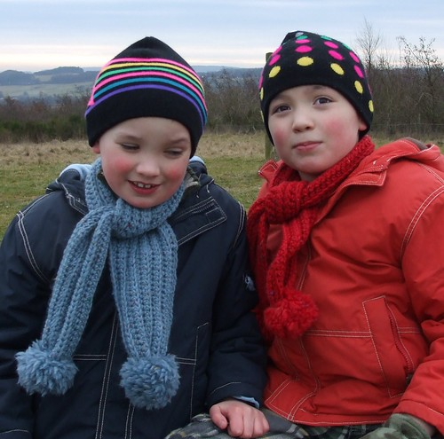 Lovely boys in new crocheted scarves