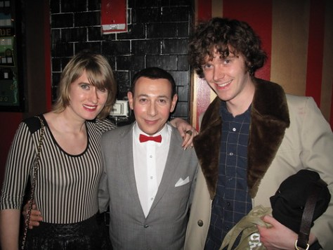 Lauren Reid and Matt Hurst pose for a photo with Pee Wee Herman