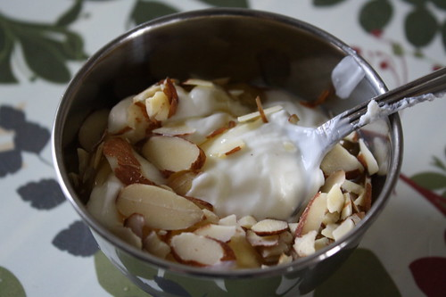 Stonyfield Oikos greek plain non-fat yogurt, almonds and honey