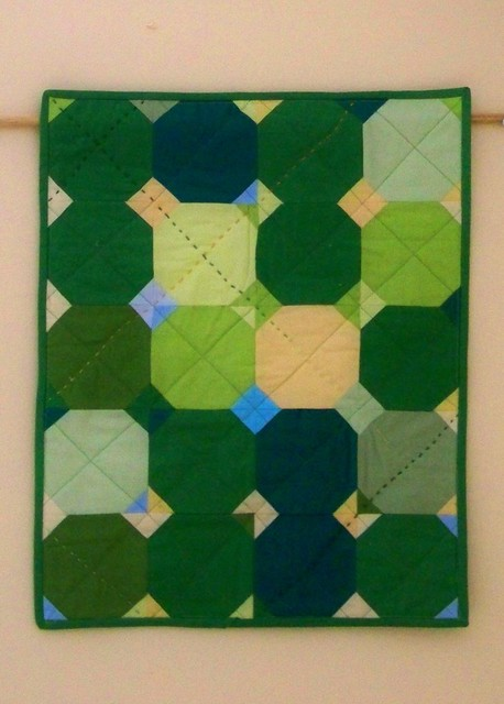 Daydreaming quilt: green and yellow modern mini quilt in kona solids