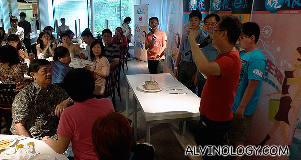 Surprise birthday cake for three participants, courtesy of Lao Beijing restaurant