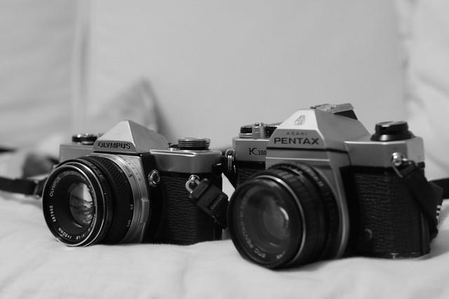 Olympus OM-1 & Pentax K1000