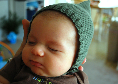 Coen's pixie hat (modeled by Ezekiel).