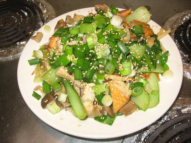 Udon with bok choy, tomato, tofu, etc.