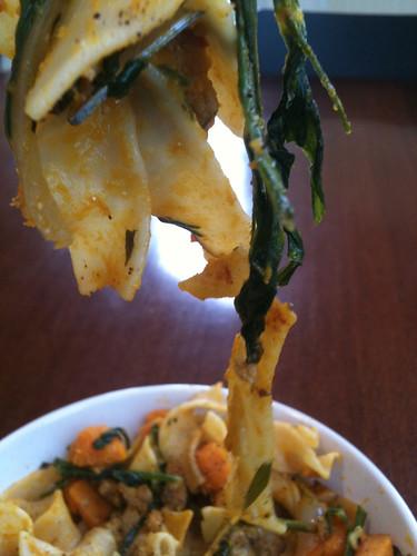 Pea shoot pasta