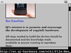 Links web browser on Ben NanoNote 2