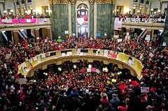 Inside the Rotunda at the Wisconsin State Legislature Protesters Unite